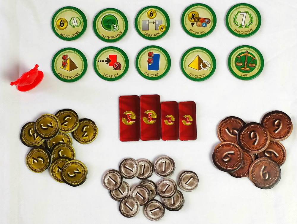 7 Wonders Duel (2015) tokens and coin
